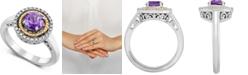 Macy's Amethyst (3/4 ct. t.w.) & Diamond (1/10 ct. t.w.) Halo Ring in Sterling Silver & 14k Gold