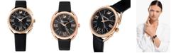 Swarovski Women's Swiss Crystalline Glam Black Leather Strap Watch 35mm