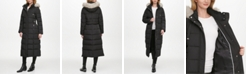 DKNY Faux-Fur Trim Hooded Maxi Puffer Coat