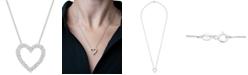 "Macy's Diamond Heart 18"" Pendant Necklace (1/10 ct. t.w.) in Sterling Silver"