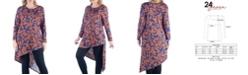 24seven Comfort Apparel Women's Plus Size Floral Print Asymmetric Tunic Top