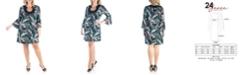 24seven Comfort Apparel Women's Plus Size Feather Print Dress