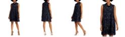 Connected Roll-Collar Metallic Jacquard Dress