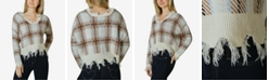 Polly & Esther Distressed Plaid V-Neck Sweater