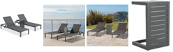 Noble House Westlake Outdoor Chaise Lounge and C-Shaped Side Table