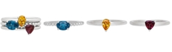 Macy's 3-Pc. Set Multi-Gemstone Stacking Rings (1-3/4 ct. t.w.) in Sterling Silver
