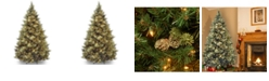 National Tree Company National Tree 7' Carolina Pine Hinged Tree with Flocked Cones and 850 Clear Lights