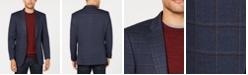 Tommy Hilfiger Men's Modern-Fit THFlex Stretch Navy/Burgundy Windowpane Sport Coat