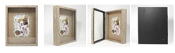 "Lawrence Frames Weathered Natural Front Hinged Shadow Box Frame - Burlap Display Board - 11"" x 14"""