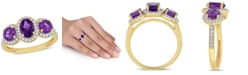 Macy's Amethyst (1-5/8 ct.t.w.) and Diamond (1/3 ct.t.w.) 3-Stone Halo Ring in 18k Yellow Gold over Sterling Silver