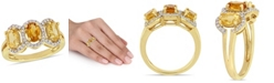 Macy's Citrine (1-1/3 ct.t.w.) and Diamond (1/5 ct.t.w.) 3-Stone Halo Ring in 18k Yellow Gold over Sterling Silver
