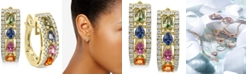 EFFY Collection EFFY® Multi-Sapphire (1-7/8 ct. t.w.) and Diamond (1/2 ct. t.w.) Hoop Earrings in 14k Gold