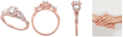 Macy's Diamond Halo Engagement Ring (1 ct. t.w.) in 14k Rose Gold