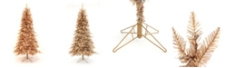 Perfect Holiday Pre-Lit Rose Gold Slim Christmas Tree with LED Lights Collection