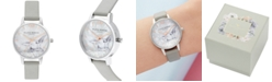 Olivia Burton Women's Snow Globe Gray Leather Strap Watch 30mm