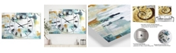 """Designart Teal and White Composition Oversized Modern 3 Panels Wall Clock - 38"""" x 38"""" x 1"""""""