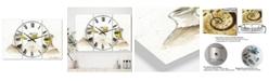 "Designart Three White Ducks Large Farmhouse 3 Panels Wall Clock - 23"" x 23"" x 1"""