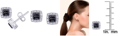 Macy's Black and White Diamond 1/3 ct. t.w. Cushion Square Stud Earrings in Sterling Silver