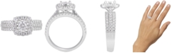 Macy's Diamond Halo Triple Row Ring (1-1/4 ct. t.w.) in 14k White Gold