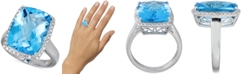 Macy's Blue Topaz (12 ct. t.w.) & Diamond (1/3 ct. t.w.) Ring in Sterling Silver