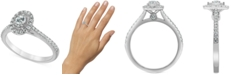 Macy's Diamond Oval Halo Engagement Ring (1/2 ct. t.w.) in 14k White gold