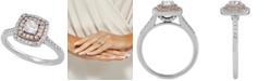 Macy's Diamond Cushion Double Halo Engagement Ring (3/4 ct. t.w.) in 14k White & Rose Gold