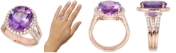 Macy's Amethyst (9 ct. t.w.) & Diamond (7/8 ct. t.w.) Ring in 14k Rose Gold
