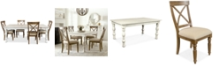 Furniture Aberdeen Driftwood Expandable Dining Furniture, 5-Pc. Set (Table & 4 Upholstered Side Chairs)