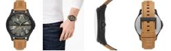 A|X Armani Exchange Men's Hampton Brown Leather Strap Watch 46mm