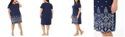 Karen Scott Plus Size Eyelet Split-Neck Dress, Created for Macy's