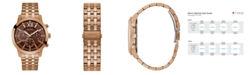 GUESS Rose Gold-Tone Brown Multifunction Bracelet Watch 45mm