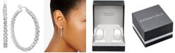 """Essentials Crystal Bezel Medium Hoop Earrings in Fine Silver-Plate, 1.37"""""""