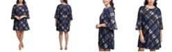 Jessica Howard Plus Size Plaid Bell-Sleeve Dress