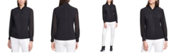Calvin Klein Sheer-Sleeve Twist-Neck Top
