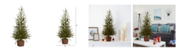 "Nearly Natural Alpine ""Natural Look"" Artificial Christmas Tree in Wood Planter with Pine Cones"