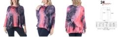 24seven Comfort Apparel Women's Plus Size Oversized Tie Dye Dolman Tunic Top