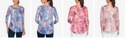 Ruby Rd. Plus Size Knit Embellished Floral Top