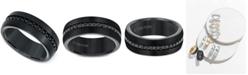 Triton Men's Sapphire 8mm Band (9/10 ct. t.w.) in Black Tungsten Carbide