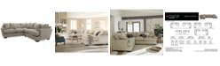 """Furniture CLOSEOUT! Ainsley 2-Piece """"L"""" Shaped Fabric Sectional with 6 Toss Pillows, Created for Macy's"""