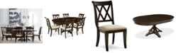 Furniture Baker Street Round Expandable Dining Furniture, 7-Pc. Set (Dining Table & 6 Side Chairs), Created for Macy's