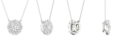 """Macy's Diamond Halo Pendant Necklace (1 ct. t.w.) in 14k White Gold, 16"""" + 2"""" extender"""