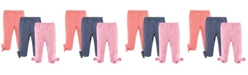 Hudson Baby Baby Leggings with Knotted Ankle Bows, 3-Pack, 2T-5T