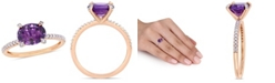 Macy's Amethyst (1-5/8 ct.t.w.) and Diamond (1/10 ct.t.w.) Ring in 10k Rose Gold