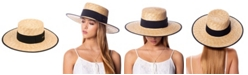 Epoch Hats Company Angela & William Braid Natural Straw Women's Boater Hat with Black Band