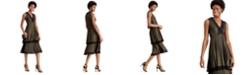 Taylor Lace-Trim Metallic Tiered Dress