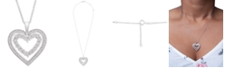 Macy's Diamond Heart Adjustable Pendant Necklace (1/4 ct. t.w.) in Sterling Silver