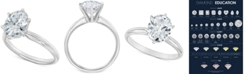Macy's Diamond Oval Solitaire Engagement Ring (1-1/2 ct. t.w.) in 14k White Gold