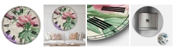 "Designart Vintage-Inspired Flowers II Large Cottage Wall Clock - 36"" x 28"" x 1"""