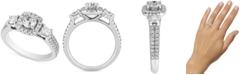 Macy's Diamond Triple Stone Halo Ring (1-1/3 ct. t.w.) in 14k White Gold