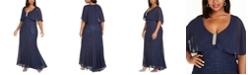 R & M Richards Plus Size Capelet Gown